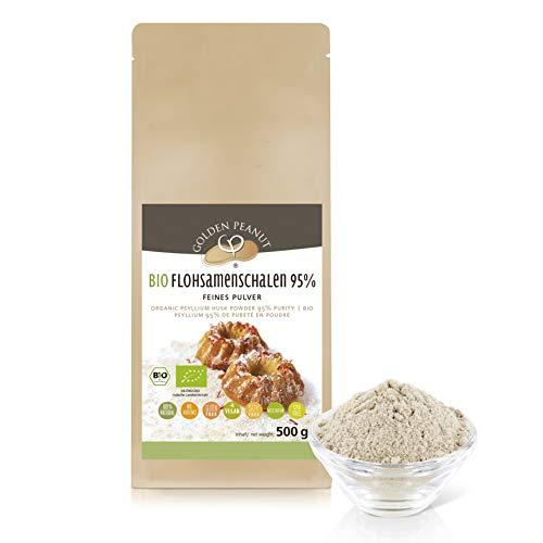 BIO Flohsamenschalen Pulver 95%, fein gemahlen 500g Beutel, extra weiß, keimreduziert, aus frischer Ernte und ausgewählten Anbaugebieten in Indien