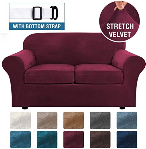 LINGKY Velvet Sofa Cover with 2 Separate Cushion Covers, Stretch Ultra Soft Plush Sofa Slipcover Replacement Anti-Slip Furniture Protector with Elastic Bottom (Wine Red,2 Seater(122-172cm))