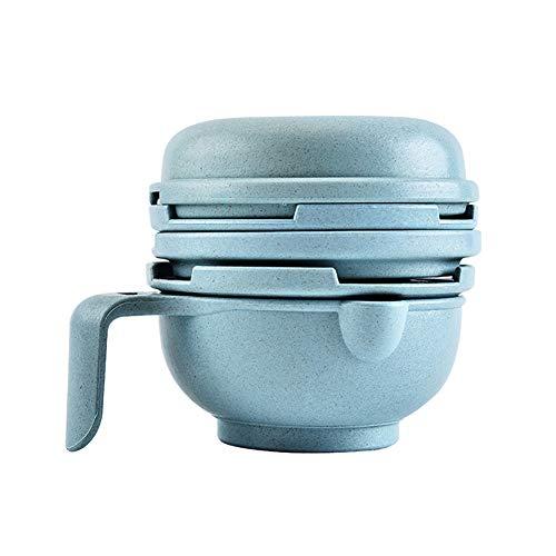 HshDUti Portable Food Masher Baby Feeder Smasher Supplement Bowl Gemüse Obstschleifer Blue