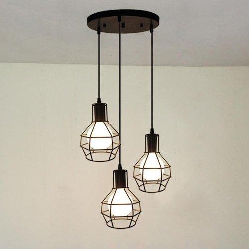 Hines Industrial Vintage Retro LOFT Style Pequeño tres cabezas Jaula de la encimera Multi Light Lámpara colgante Fixture 3 Luz de la lámpara pendiente Chandelier (150 cm cadena ajustable)
