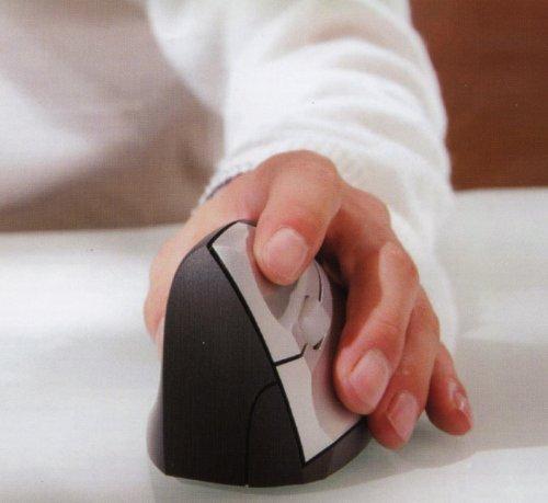 Minicute Ezmouse M0010202 ergonomische Maus (USB, 1,5m Kabel, geeignet für Windows, Linux, Mac) schwarz/silber