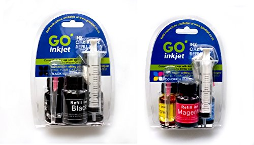 Black and Colour Printer Ink Cartridge Refill Kit for Brother, Canon, Dell, HP, Lexmark Printers by GO Inkjet