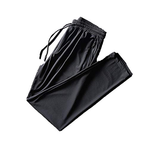 Ice Silk Fitness Running Stretch Yoga Pant, Summer Lightweight Breathable Casual Pants, Fitness Running Stretch Pant Men, Quick-Drying Mesh Loose-fit Trousers (Black, Straight, 3XL)