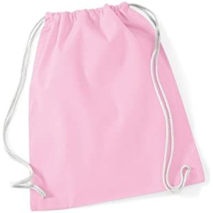Westford Mill Cotton Gymsac Bag - 12 Litres (One Size) (Classic Pink/White)
