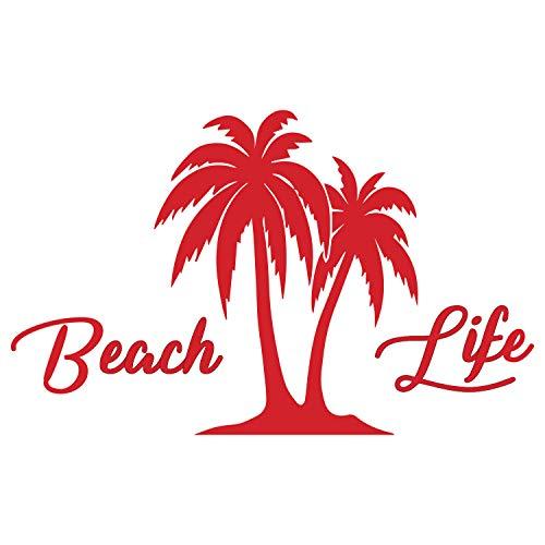 Beach Life Palm Trees Island Vinyl Decal Sticker Car Window Bumper Die Cut 5-Inches Premium Quality UV Resistant Beach'n Ocean Water Surf Sun Tan Marine Life (5-Inches, Red) JMM00291RED5