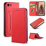 iLovecover Handyhülle für iPhone 7/8/iPhone SE 2020 (4.7 Zoll) Hülle,Premium Leder Flip Schutzhülle Leder Wallet Tasche Klapphülle glatt Silikon Bumper Handytasche,Rot
