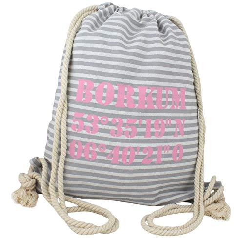 Sonia Originelli City Rucksack Borkum Tasche Bag Backpack Maritim Farbe Grau-Rosa
