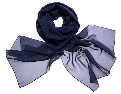 Dresstells Chiffon Schal Stola für Abendkleider in Verschiedenen Farben Navy 180cmX72cm/ Small