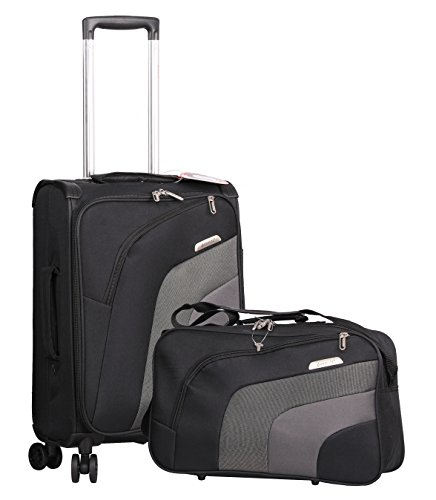 "Aerolite 21"" Carry On Ultra Lightweight Spinner Suitcase & Flight Bag Under Seat Shoulder Bag Set (Black)"