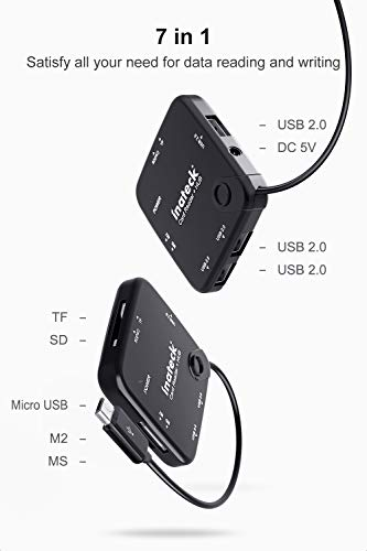 Inateck Micro USB Card Reader Hub, USB OTG Adapter with SD/TF/MS/M2 Card Slot and 3 USB 2.0 Ports, HB3001G