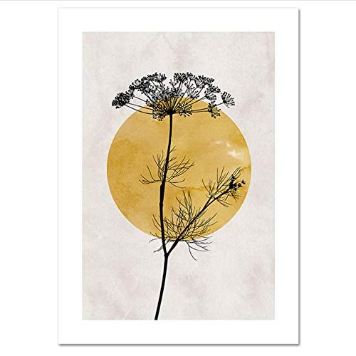 PDFKE Póster Moderno Golden Sun -2 Silueta de Planta Abstracta Arte Minimalista galería Carteles artísticos de Pared Impresiones en Lienzo Sala de Estar decoración del hogar-20