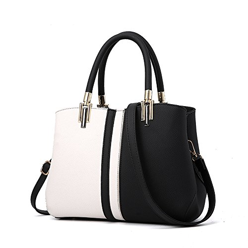 Nevenka Purses and Handbags for Women Top Handle Bags Leather Satchel Totes Shoulder Bag from (Black)