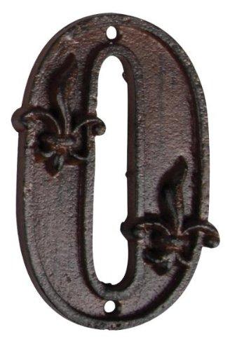 Esschert Design Hausnummer 0, mit Lilien Muster aus Gusseisen in antikbraun, patiniert, ca. 8 cm x 12 cm