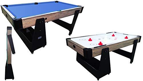 Charlsten Multi Airhockeytisch/Billardtisch Holzoptik - 2-in-1 zusammenklappbar