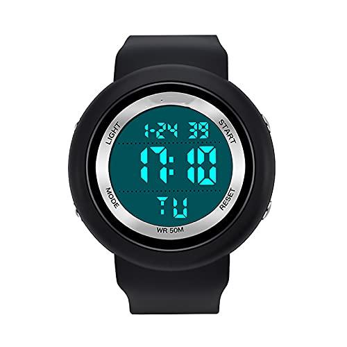 WTYU Reloj de Pantalla única Impermeable Luminosa Digital, Reloj de Pulsera a Prueba de Agua a Prueba de Agua para Hombre Deportivo para Hombre, Fecha de Alarma multifunc A
