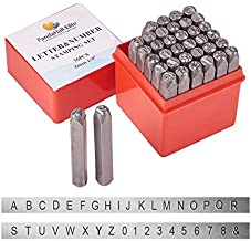 PandaHall Elite 36 Pcs Letter and Number Metal Stamp Set, 1/4 inch 6mm Alphabet A-Z and Number 0-9 and Symbol, Iron Uppercase Stamps Punch Press Tool for Imprinting on Metal Jewelry Leather Wood