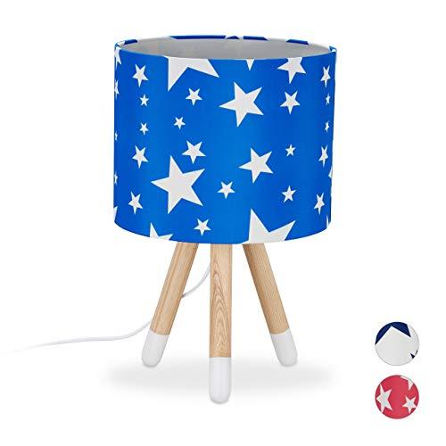 Relaxdays Tafellamp Stars, kinderkamerlamp, E14, driepoot, stoffen lampenkap, hout, HxD 39,5 x 25 cm, blauw/wit