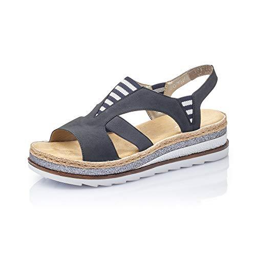 Rieker Femme Sandales V79Y7, Dame Sandales compensées,Sandales compensées,Chaussures d'été,Confortable,Plat,Pazifik,42 EU / 8 UK