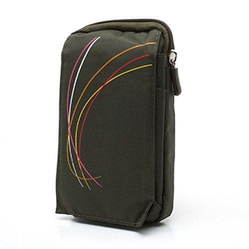 DFV mobile - Multi-Functional Vertical Stripes Pouch Bag Case Zipper Closing Carabiner for Cubot R19 (2019) - Green (16 x 9.5 cm)