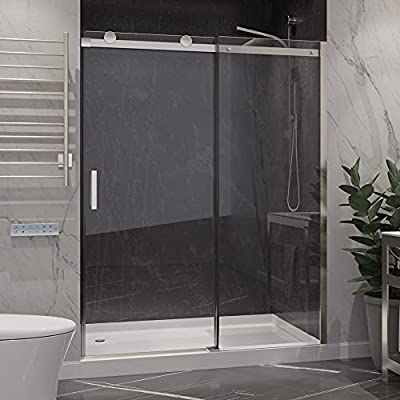 76 x 60 inch Frameless Shower Door in Polished Chrome   Rhodes Water Repellent Glass Shower Door with Seal Strip Parts and Handle   Easy Gilde Rollers Sliding Shower Door   SD-FRLS05702CH