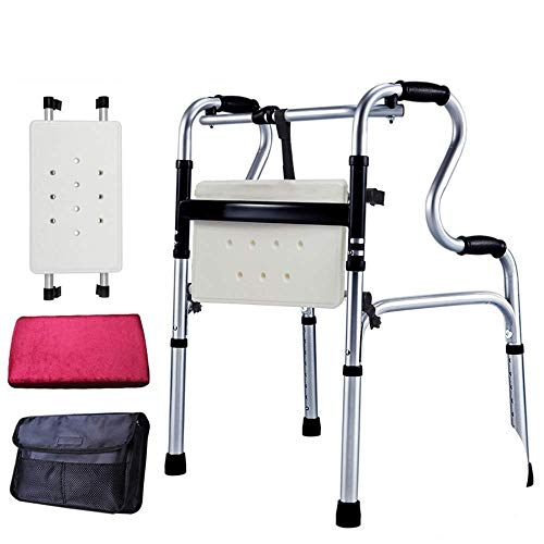 GenericBrands Standard Walkers Wheeled Walking Frames Foldable Adjustable Walking Assist Equipped with Arm Rest Pad for Adult and Elderly