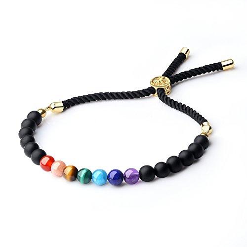 coai Stone Jewelry 7 Chakra Matte Onyx Stone Beaded Bolo Bracelet for Women