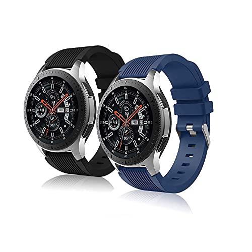 Correa Pulsera Compatible con Huawei Watch gt2 Pro Samsung Galaxy Watch 46 mm Galaxy Watch 3 / Gear S3 45 mm 22 mm Pulsera de Reloj Inteligente para Hombres y Mujeres-Negro+Azul