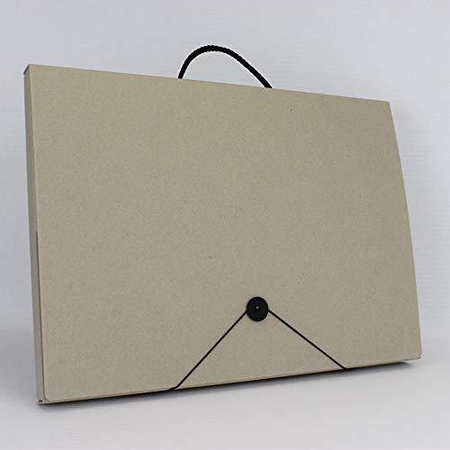 Öko Line Sammelbox Mappenmanufaktur aus 100% Altpapier. Hergestellt in Deutschland. DIN A3 Fb. grau mit Kordelgriff. Auslegemappe Künstlermappe Prospektkoffer