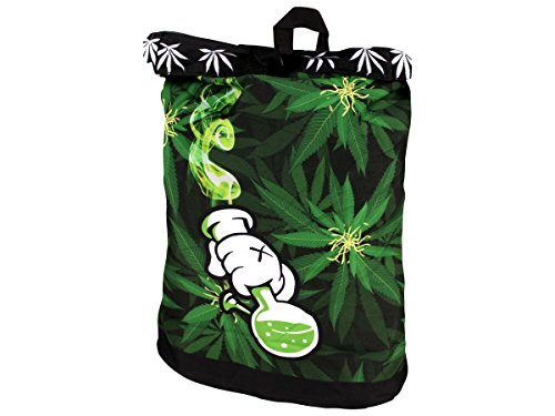 Alsino Rucksack Tasche Umhängetasche mit Griff Rucksacktasche Rücktasche Retro Vintage, Variante wählen:Ruck-c002 Marihuana