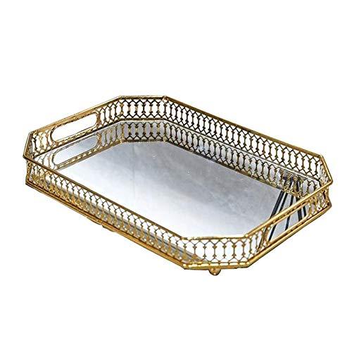 Fenteer Spiegeltablett Gold, Tablett Spiegel Metall Tablett Verspiegelt Platte Verspiegelt Deko Rechteckig Dekotablett für Waschtisch, Kommode, Badezimme