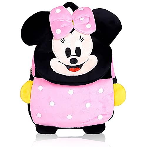 Hilloly Minnie Mouse Zaino Zaino per Bambini Peluche Zainetto Zaino Scuola Elementare 3D Con Bowknot Animale Scuola Borsa in Peluche , per Scuola