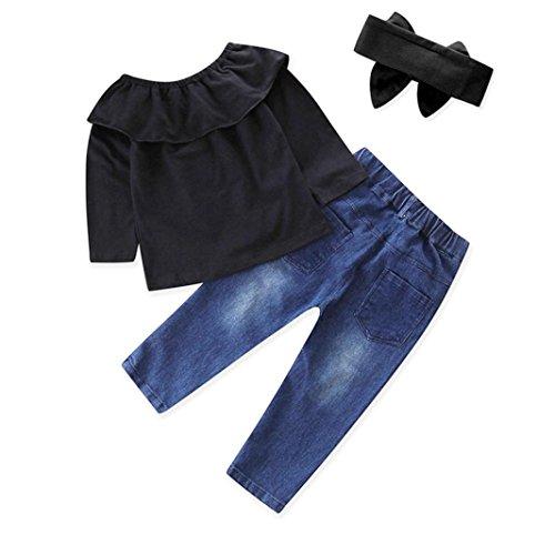 Longra baby-outfit, voor meisjes, solide schouders, bovendeel + denim broek, vrijetijdskleding, schattige haarband, kleding, bedrukt, denim, broek voor lentekleding, baby, meisjes, 24 - 6 jaar 6T zwart.