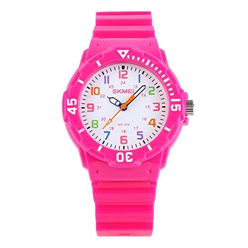 Reloj de Pulsera para niñas de 5 ATM, Resistente al Agua, Reloj de Cuarzo analógico para niños, Reloj de Pulsera Deportivo Digital con brújula giratoria para niños