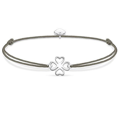 THOMAS SABO Damen Armband Little Secret Kleeblatt Kleeblatt Little Secret 925er Sterlingsilber, Nylon LS017-173-5