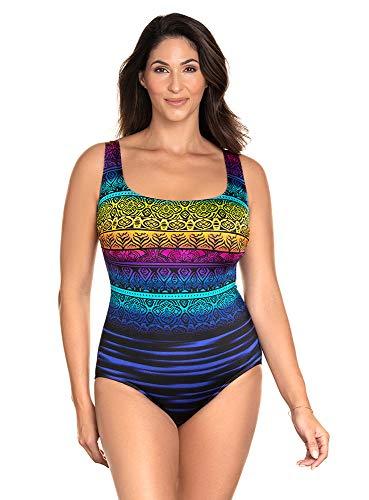 Longitude Women's Swimwear Cocoa Beach Double X-Back Tank Soft Cup Long Torso One Piece Swimsuit, Multi, 08
