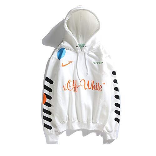 QYS Sudadera con Capucha Off OW Logo Cotton Pullover para Hombres/Mujeres,White,M