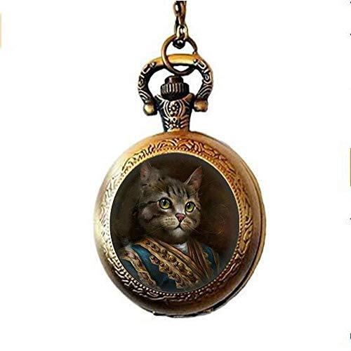 Montre à gousset Steampunk avec chat - Bijoux en verre avec photo