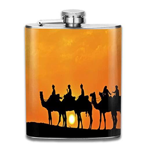Flesje Silhouet van Camel Caravan RVS Kleine Hip Flask Mens Lekvrij Vlagon Outdoor Draagbare Flask voor Alcohol Whiskey Rum en Vodka