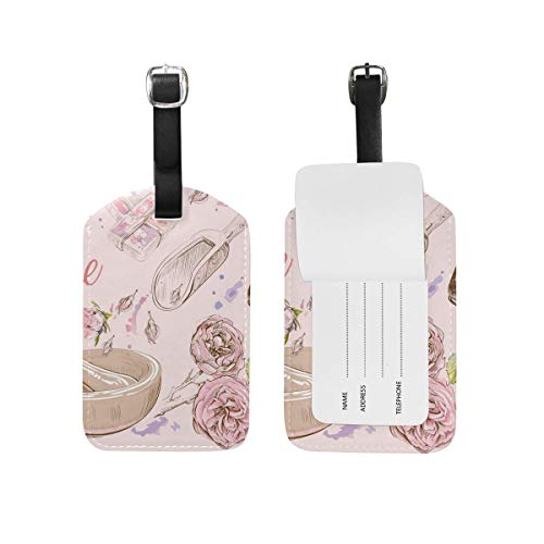 Shenguang 2 pièces en Cuir Rose Fleur cosmétique Rouge à lèvres étiquettes de Bagages Voyage Bagages étiquettes Sac étiquette