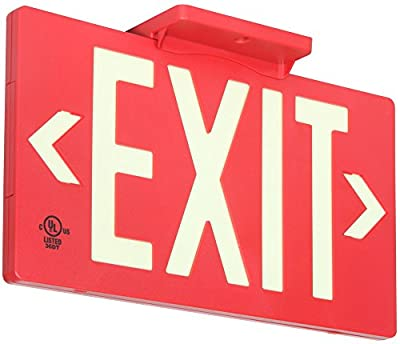 UL Listed 50 foot Jessup Glo Brite 7050-B 8.75-x-15.5-Inch Single Sided Exit Sign with Frame, Red (Mounts 4 ways, includes bracket and arrows)