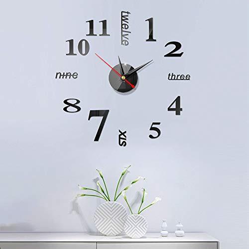Futaikang - Reloj de pared adhesivo con números en 3D, ideal como...