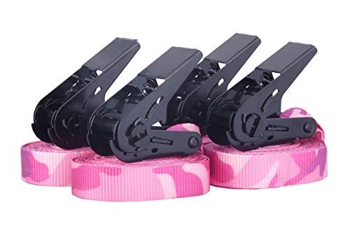 4 Stück Ratschengurte Spanngurte 900 daN nach DIN EN 12195-2, TÜV zertifziert, 6m Länge, pink camouflage