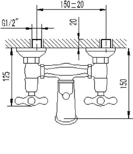 AquaSu – Badewannenarmatur, Zweigriffmischer Athenas inklusive Brausegarnitur, Chrom - 9
