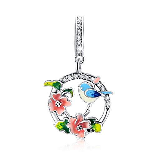 Abalorio de plata de ley con diseño de pájaros, flores y hojas, compatible con pulsera Pandora