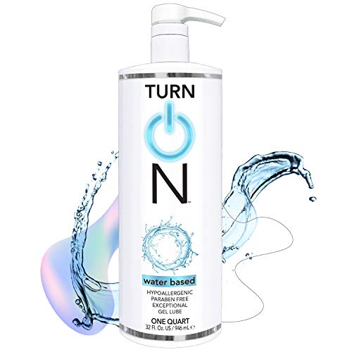 Turn On Water Based Sex Lube 32 Ounce Premium Personal Lubricant, Long Lasting Formula for Condom Safe Vegan Ph Balanced Hypoallergenic and Paraben Free Intimacy, Gel Lube for Men Women & Couples