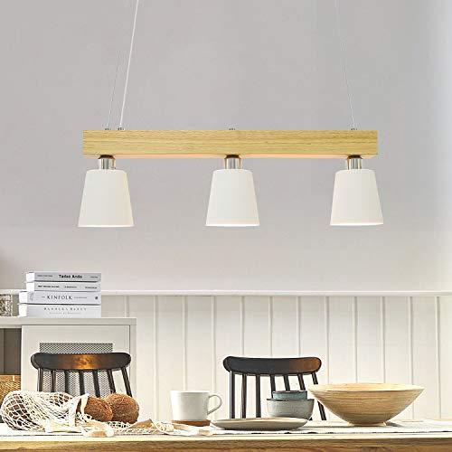 LED Pendelleuchte Esstisch Holz Hängeleuchte 3 Flammig Warmweiß Höhenverstellbar Esstischlampe für Esszimmer...