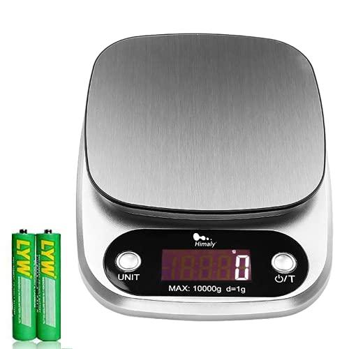 Himaly Bilancia da Cucina, 10Kg/1g Bilancia Elettronica Digitale Alta Precisione Misurazione Display LCD Multifunzione da Cucina e Acciaio Inossidabile