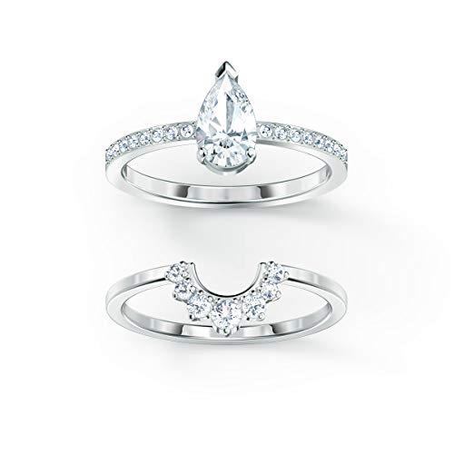 SWAROVSKI Attract Ring Set, Pear-Shaped Clear Crystal Center Stone with Crystal Pavé on a Rhodium Plated Setting and a Second Stackable Ring, Size 8