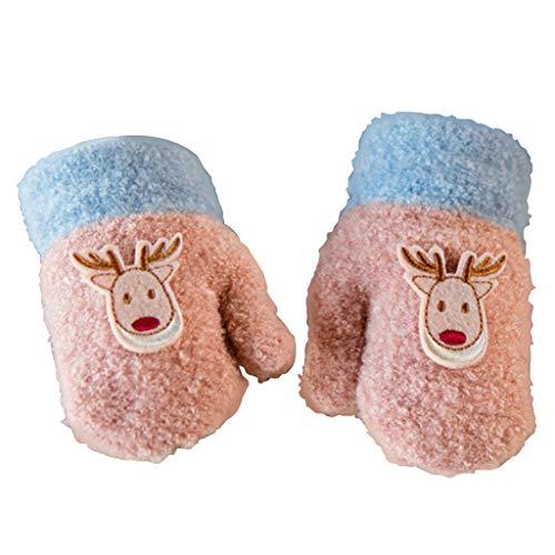 Nankod Handschuhe Kleinkind Säugling Baby Kleine Mädchen Winter Voller Finger Cartoon Weihnachten Rentier Applique Verdicken Warmen Kontrast Farbe Handgelenk Länge Handschuhe Mit Langen String
