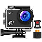 Action Camera, Wi-Fi Ultra HD 4K, fotocamera subacquea 30M con telecomando, EIS, 2 batterie, video in loop, Time Lapse, supporto 32G-64G